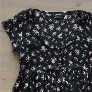 Nasty Gal Black Grunge Floral Sheer Babydoll Dress